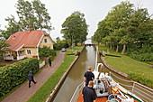On board of a river boat, Gota canal, Sjoetorp near lake Vanern, Sweden