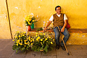 Man offering yellow roses in Plaza Mayor, Antigua, Sacatepequez, Guatemala