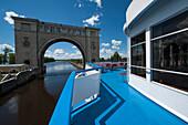 River cruise ship near Volga river lock, Uglich, Yaroslavl Oblast, Russia