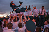 Military academy officers celebrating graduation, Sparrow Hills, Moscow, Russia