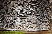 Ornamental Reliefs. Pura Dalem Agung Temple. Monkey Forest. Ubud. Bali. Indonesia.