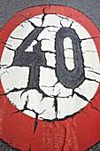 Speed limit sign, Oviedo, Asturias, Spain.