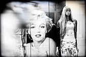 Photographs of Marilyn Monroe in a shop window in Paris