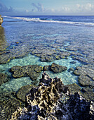 Cook Islands, Atiu Island, Makatea fringed coast line.
