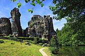 D-Horn-Bad Meinberg, Werre, Teutoburgian Forest, Eggegebirge, Teutoburg Forest / Egge Hills Nature Park, East Westphalia, North Rhine-Westphalia, NRW, Externsteine, rock formation, sandstone rocks, Wiembecke Lake.