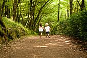 Two children on woodland path
