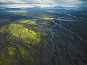 Aerial view of glacial river near Myrdalsjokull, Iceland