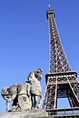 France, Europe, French, Paris, Seine River, Pont d'Iéna, Jena Bridge, sculpture, horse, Eiffel Tower,.