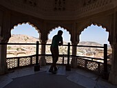 View from the balcony of historic structure in Jaipur, Rajasthan, India.