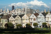 The Painted Ladies, houses on Alamo Square in San Francisco, California, USA.