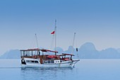 Tourboats and limestone karsts and small islands in Ha Long Bay, Vietnam, Asia.