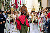 Eagles dance and Sant Joan Pelos, original medieval dance of Catalonia and the Valencian Country, procession of the Corpus, Pollença. Mallorca. Balearic Islands. Spain.