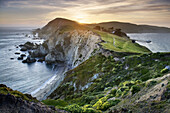 Sunset over the headlands near Chimney Rock, Point Reyes National Seashore California.