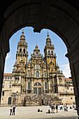Cathedral and Plaza del Obradoiro, World Heritage Site, Santiago de Compostela, Way of St James, A Coruña province, Galicia, Spain