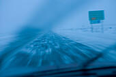 Blowing Snow On Highway, Chaudiere-Appalaches Region, Quebec