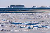 Perce Rock And Ice Floe, Saint-Georges-De-Malbaie, Gaspesie Region, Quebec
