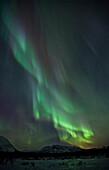 Aurora Borealis Or Northern Lights Above The Mountains Near Whitehorse, Yukon.