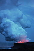 Steam And Explosion From The Lava Flow Of Kilauea Flowing Into The Ocean On The Big Island Of Hawaii