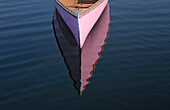 Bow Of Pink Canoe Floating In Lake, Algonquin Park, Ontario, Canada