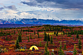 Tent At Wonder Lake Campground, Mount Mckinley And Alaska Range In Background, Denali National Park, Alaska