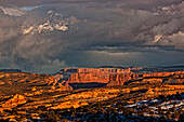View Of Mountains And Storm Clouds In Arches National Park, Utah.