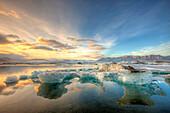 Melting Icebergs In The Glacial Lagoon, Near Jokulsarlon, Southern Iceland