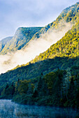 'Mist On Jacques-Cartier River At Dawn In Jacques-Cartier National Park; Quebec Canada'