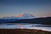 Scenic Landscape Of Mt. Mckinley And Wonder Lake In The Morning, Denali National Park, Interior Alaska, Autumn. Hdr
