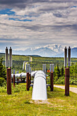 Scenic View Of The Trans Alaska Oil Pipeline As It Goes Underground The Tundra Near The Pass Of The Alaska Range, South Of Delta Junction, Alaska During Early Autumn.