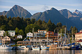 Sitka Boat Harbor & Residential Community Of Sitka, Alaska, Baranof Isl, Inside Passage. Summer.