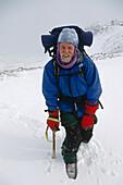 Mountain Climber W/ Frosted Face Chugach Mts Sc Alaska Winter
