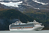 The Sapphire Princess Cruise Ship Leaves Port At Whittier Bound For The Open Waters Of The Prince William Sound, Southcentral Alaska, Autumn