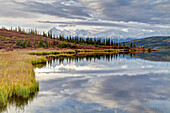 Scenic Of Wonder Lake With Snow Covered Mt. Brooks And The Alaska Range In The Background, Denali National Park & Preserve, Interior Alaska, Autumn, Hdr