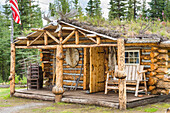 Rustic Log Cabin Near Glennallen, Alaska In Summer.