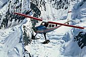 Helio-Courier Flying Over Ak Range Hanging Glaciers Alaska Interior