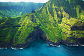'Aerial view of the coastline of an hawaiian island; Hawaii, United States of America'