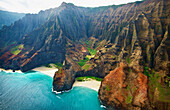'View of the rugged coastline along an hawaiian island; Hawaii, United States of America'