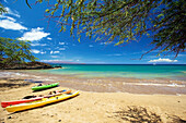 'Kayaks on the beach of an hawaiian island; Hawaii, United States of America'