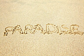 'The word paradise written in the sand; Hawaii, United States of America'
