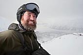 Portrait Of A Downhill Skier With Frosty Beard, Alyeska Resort, Southcentral Alaska, Winter