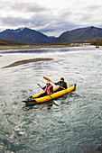 Rafters On Noatak River In The Brooks Range, Gates Of The Arctic National Park, Northwestern Alaska, Above The Arctic Circle, Arctic Alaska, Summer.