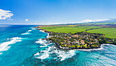 'Aerial view of the North shore coastline, Paia and Kuau towns, Maui, Hawaii, United States of America'