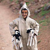 'A Young Shepherd Boy Holding Two Lambs; Morocco'