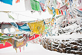 'Five-Color Prayer Flags With Mantras At The Snowed In High Mountain Pass, Tibet Stupa; Tibet, Sichuan, China'