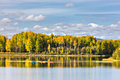 Kayakers Enjoying A Fall Day At The Chena Lakes Recreation Area, Fairbanks, Alaska, Usa