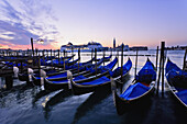 'Gondolas, Cruise Ship And San Giorgio Maggiore Church At Dawn; Venice, Italy'