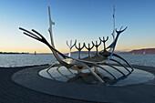 'Solfar Sculpture On Saebraut, Designed To Resemble A Viking Ship, Reykjavik Waterfront; Reykjavik, Gullbringusysla, Iceland'