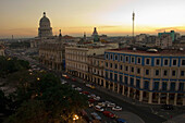 'Capitolio Nacional, Hotels Inglaterra And Telegrafo, Cars On Paseo Del Prado, And Parque Central From Roof Of Hotel Parque Central At Dusk; Havana, Artemisa, Cuba'