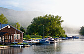 'Boats In The Early Morning Mist; North Hatley, Quebec, Canada'