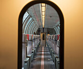 'Arched Doorway And Aisle Of A Train Car; Locarno, Ticino, Switzerland'